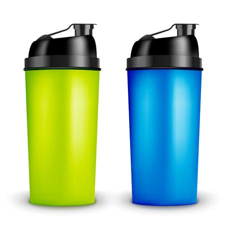 Protein shaker design template. Two colors sport bottles. Shaker bottle for gym bodybuilding.