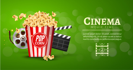 cinematography: Movie film banner design template. Cinema concept with popcorn, filmstrip and film clapper. Theater cinematography poster. Illustration