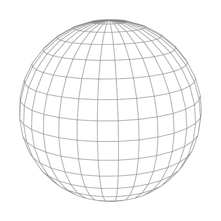 Abstract vector wireframe sphere globe on white isolated.