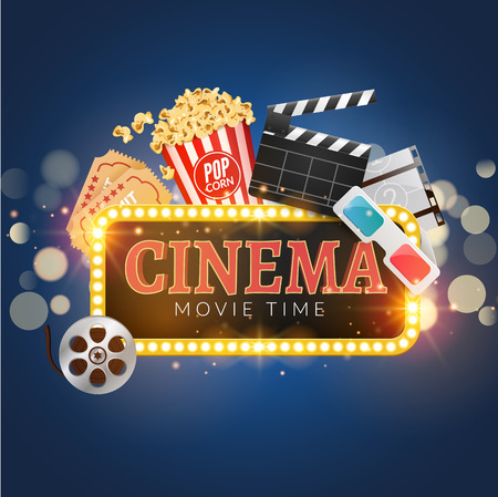 Cinema Movie Vector Poster Design Template. Popcorn, Filmstrip ...