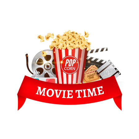 Cinema movie vector poster design template. Popcorn, filmstrip, clapboard, tickets. Movie time background banner with red ribbon.