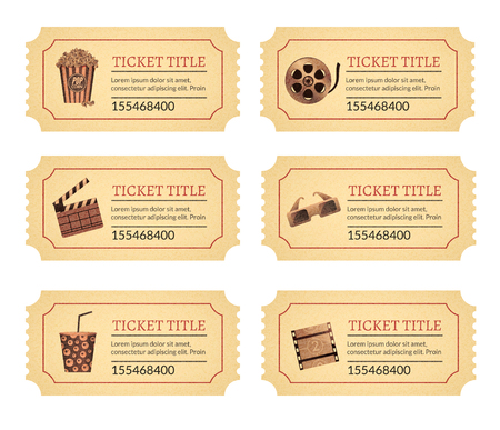 Set cinema movie tickets. Old vintage tickets labels with popcorn food and drink and other icons. Illustration
