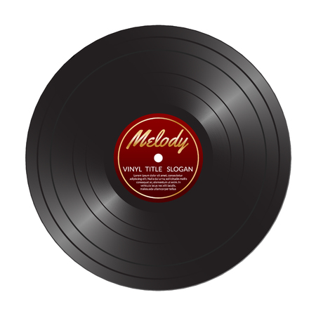 lp: Vinyl LP record disc. Black musical vinyl album disc. Realistic retro template isolated on white.