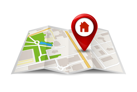 intersection: City map street view with labels or pins. Vector GPS travel symbol or icon.