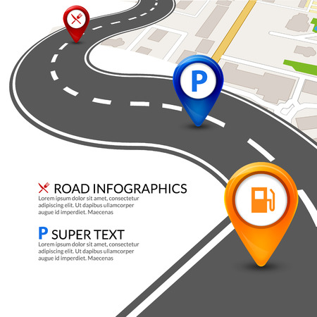 Road map city infographic with colorful pins pointer. Road street navigation perspective map template. Illustration
