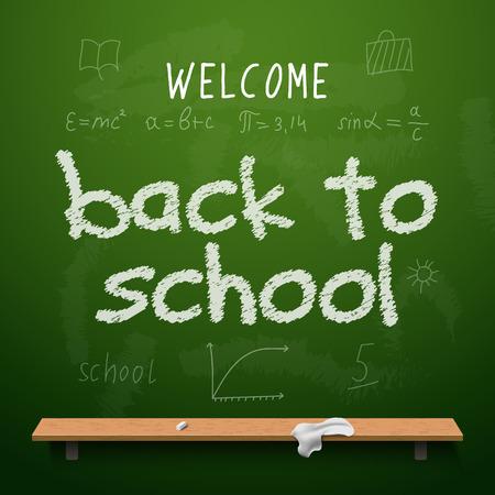 Back to school chalkboard design lettering. Blackboard with text back to school, made with chalk. Illustration