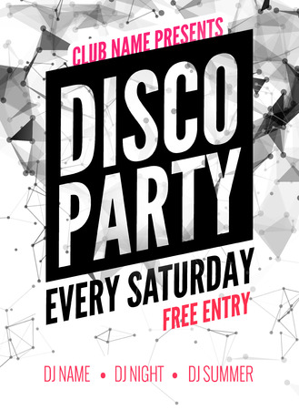 event party: Night Dance disco Party design template in polygonal style. Club dance party event. DJ music poster promotional.