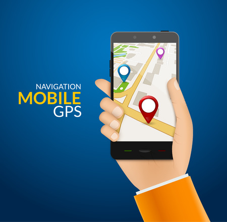 tracking: GPS phone navigation - mobile gps and tracking concept. Hand holding a mobile phone with city map.