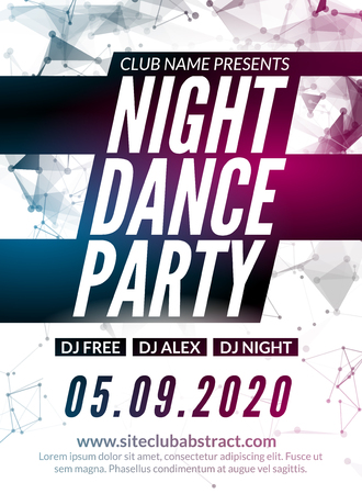 event party: Night Dance Party design template in polygonal style. Club dance party event. DJ music poster promotional.