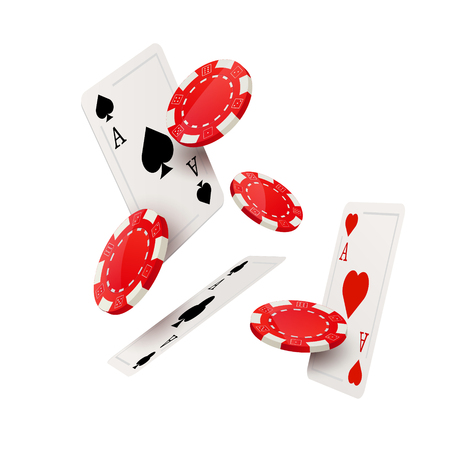 Casino poker design template. Falling poker cards and chips game concept. Casino lucky background isolated. Illustration