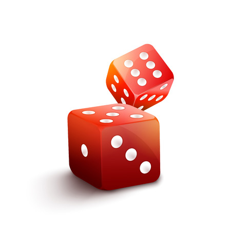 gamble: Red dice isolated casino illustration. 3d gamble vector background. Two red dice to play casino game. Success concept jackpot, chance to win. Illustration