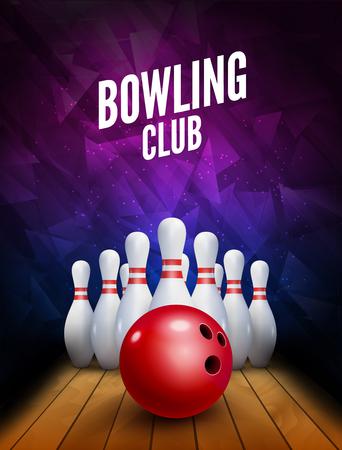 Bowling club poster with ball and bowling pins. Vector background template. Illustration