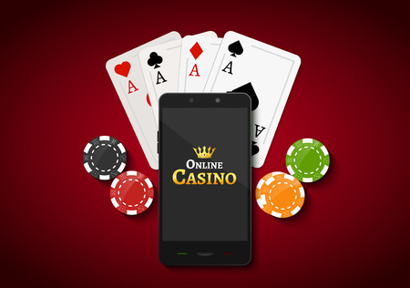 bet: Online mobile casino background. Poker app online concept. Smart phone with chips, cards.