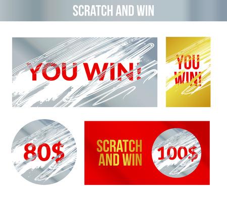 Effacez et gagnez des étiquettes. Effet des marques de scratch. Loterie de concept gagnant.