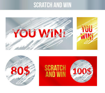 Scratch and win labels. Scratch marks effect. Winner concept lottery.