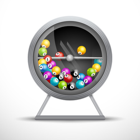 Lottery machine with lottery balls inside. Lotto game luck concept illustration. Vettoriali