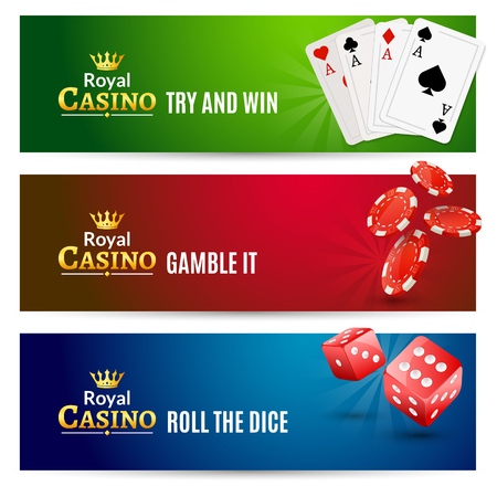 Casino banner gambling set. Poker roulette. Chips, dice and cards for casino promotion.