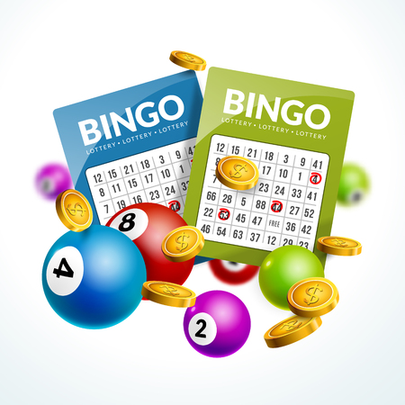 billiard ball: Bingo lottery balls numbers background. Lottery game balls ticket. Lotto winner. Illustration