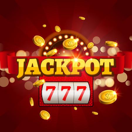 Jackpot 777 gambling poster design. Money coins winner casino success concept. Slot machine game prize.