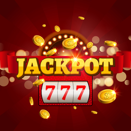 Jackpot 777 gambling poster design. Money coins winner casino success concept. Slot machine game prize. Imagens - 68591321