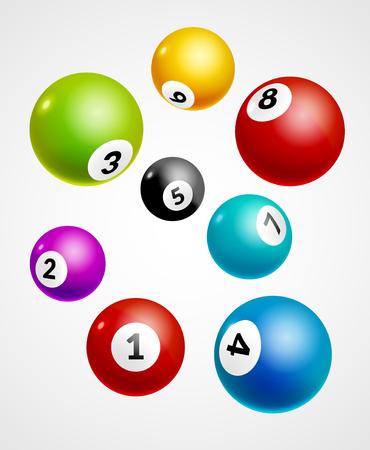 Números del bingo bolas de la lotería de fondo. Bolas de juego de lotería. ganador de lotería. Ilustración de vector