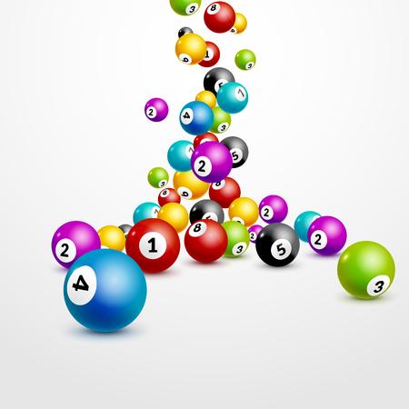 Números del bingo bolas de la lotería de fondo. Bolas de juego de lotería. ganador de lotería. bolas que caen plantilla.