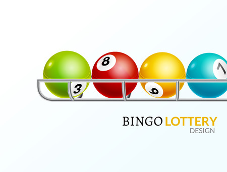 gamble: Lottery balls number. Lottery game gamble luck template poster design. Lotto background.