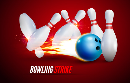 Bowling strike realistic illustration background. Fire bowl game leisure concept, Bowling club poster design Illustration
