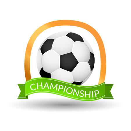 Soccer championship emblem design template. Golden football badge or logo sigh with ribbon.
