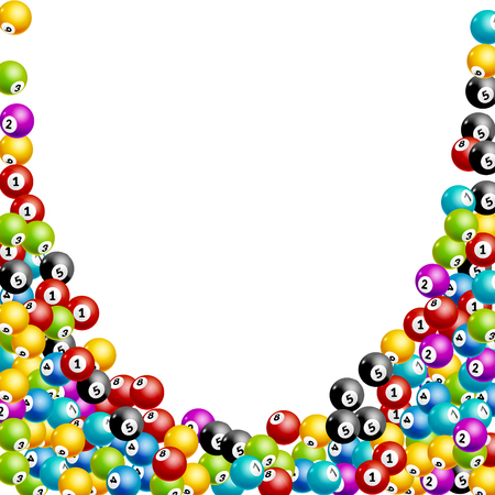 Bingo lottery balls numbers background. Lottery game balls. Lotto winner. Falling balls template.