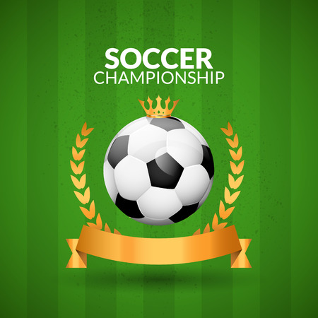 Soccer championship emblem design template. Golden football badge or logo sigh with ribbon crown and wreath. Illustration