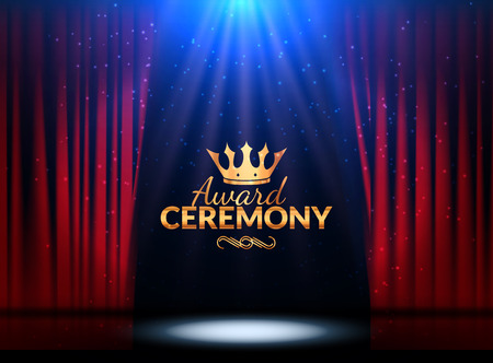 Award ceremony design template. Award event with red curtains. Performance premiere ceremony design. 版權商用圖片 - 68591357