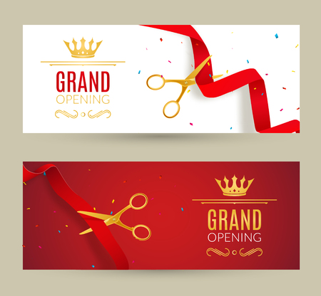 Grand Opening invitation banner. Red Ribbon cut ceremony event. Grand opening celebration card. Illustration