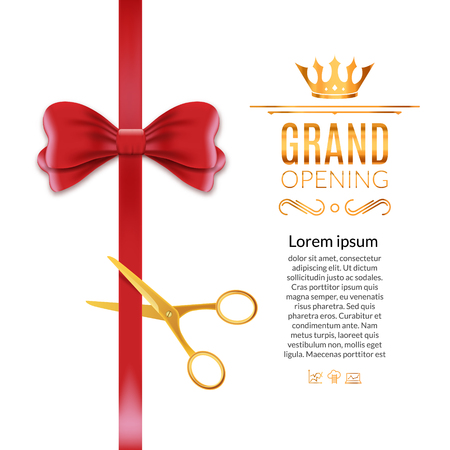 Grand Opening red ribbon and bow. Open ceremony scissor ribbon cut background. Ilustrace
