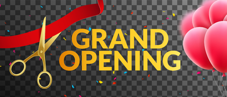 Grand Opening event invitation banner with balloons and confetti. Grand Opening poster template design on tranparent.