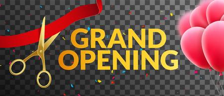 Grande striscione invito all'evento di apertura con palloncini e coriandoli. modello di progettazione grande manifesto Inaugurazione tranparent. Vettoriali