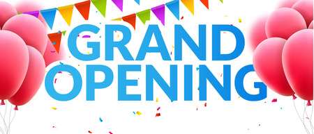 Grand Opening event invitation banner with balloons and confetti. Grand Opening poster template design.