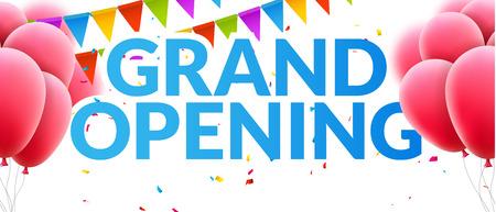 Grand Opening událost pozvání poutač s balónky a konfety. Grand Opening plakát šablony designu. Ilustrace