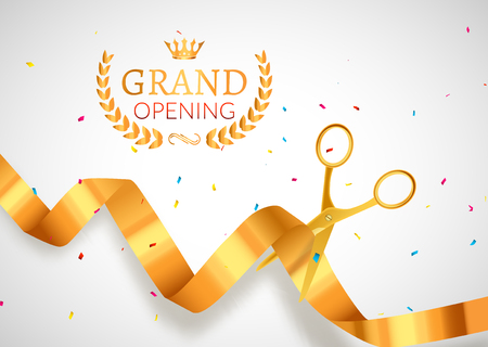 Grand Opening invitation banner. Golden Ribbon cut ceremony event. Grand opening celebration card poster.