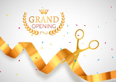 Grand Opening Einladung Banner. Goldene Band schneiden Zeremonie Ereignis. Große Eröffnungsfeier Karte Plakat.
