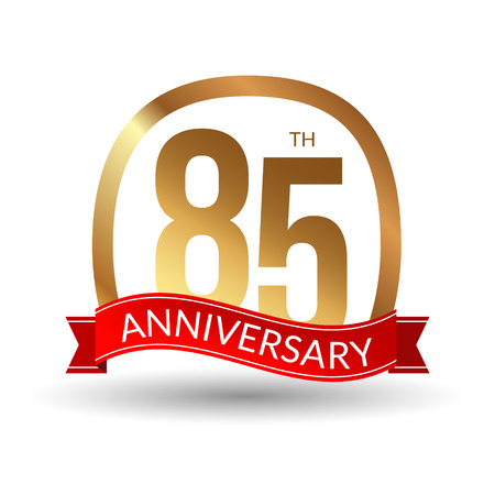1 year warranty: 85 years anniversary experience gold label with red ribbon, vector illustration. Illustration