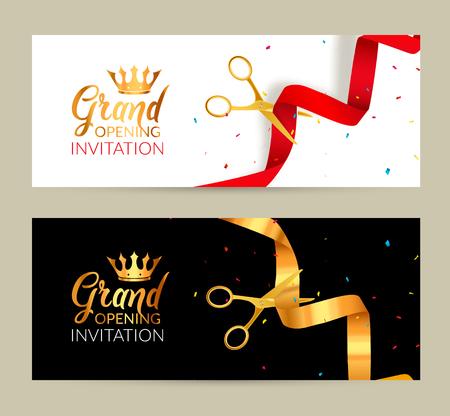 Grande ouverture invitation bannière. Ruban d'or et rouge événement ruban cérémonie de coupe. Grande ouverture carte de célébration.