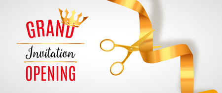 commemorate: Grand Opening invitation banner. Golden Ribbon cut ceremony event. Grand opening celebration card.