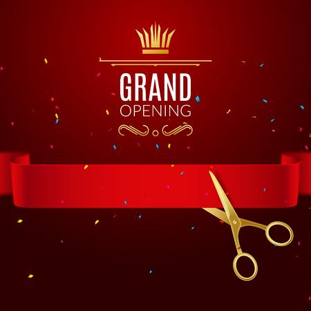 Grand Opening Design-Vorlage mit Band und Schere. Grand Open Band geschnitten Konzept