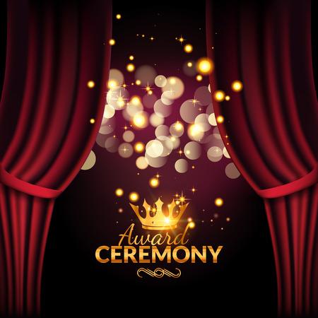 Modello di progettazione di cerimonia di premiazione. Evento premio con tende rosse. Performance premiere design cerimonia. Vettoriali