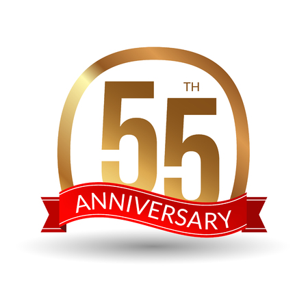 1 year warranty: 55 years anniversary experience gold label with red ribbon, vector illustration.