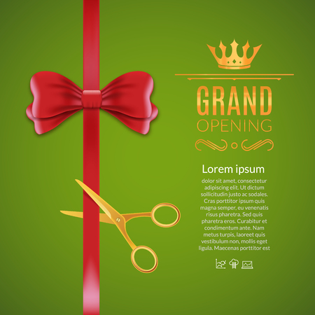 Grand Opening rotem Band und Bogen. Öffnen Zeremonie Schere Band geschnitten Hintergrund. Vektorgrafik