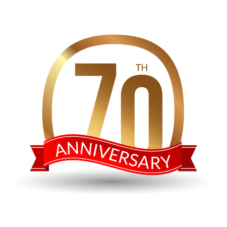 1 year warranty: 70 years anniversary experience gold label with red ribbon, vector illustration.