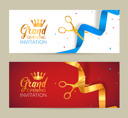 Grand Opening invitation banner. Golden Ribbon and blue ribbon cut ceremony event. Grand opening celebration card.