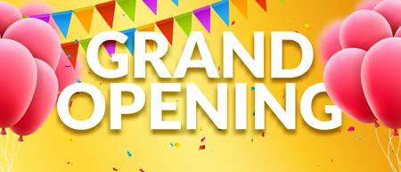 Grande striscione invito all'evento di apertura con palloncini e coriandoli. Grand Opening poster modello di progettazione.